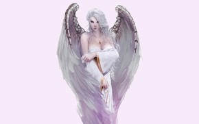 Picture girl, background, wings, angel