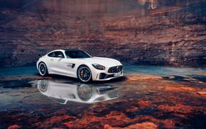 Picture Water, White, Machine, Lights, SLS AMG, Drives, Mercedes - Benz, Icon, Отражение в Воде