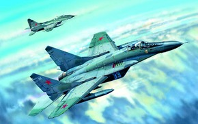 Wallpaper Clouds, pair, generation, multi-role fighter, fighters, jet, fourth, Videoconferencing Russia, USSR/Russia, combat aircraft, The MiG-29S