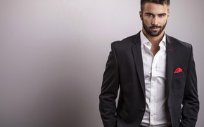 Picture look, pose, style, background, portrait, costume, male, shirt, beard, guy, jacket