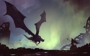 Picture Figure, Dragon, Monster, Silhouette, Warrior, Art, Fiction, Landscapes, Digital Art, Untitled, TacoSauceNinja, by TacoSauceNinja