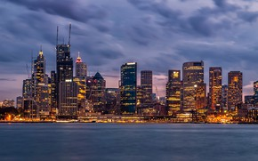 Picture the sky, clouds, lights, shore, building, home, the evening, Australia, lights, Bay, Sydney, skyscrapers