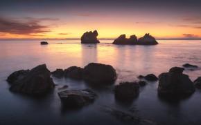 Picture sea, water, the sun, sunset, stones, rocks, shore