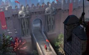 Picture fantasy, soldiers, trees, walls, animal, guards, horse, castle, artist, digital art, artwork, fantasy art, knight, …
