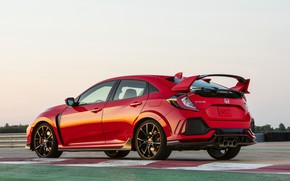 Picture red, track, Honda, roadside, hatchback, the five-door, 2019, Civic Type R, 5th gen, FK8