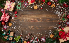 Picture decoration, New Year, Christmas, gifts, Christmas, wood, New Year, decoration, xmas, gift box, Merry, fir …