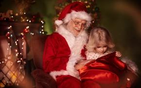 Picture room, holiday, new year, chair, garland, Santa Claus, bag, light bulb, child, Santa Claus, Anna …