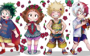 Picture flowers, children, collage, girl, boys, My Hero Academia, Boku No Hero Academy, Midori Isuku, Todoroki …