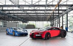 Picture Bugatti, pair, supercars, 2018, Sport, Chiron, EB110, Bugatti EB110 SS LM