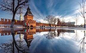 Picture water, landscape, the city, reflection, wall, spring, tower, The Kremlin, Tula, Ilya Garbuzov
