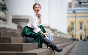 Picture look, skirt, Girl, glasses, sitting, Maxim Romanov