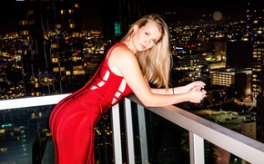 Picture city, girl, long hair, night, model, face, blonde, pornstar, red dress, balcony, tight dress, My …