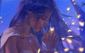Picture girl, fantasy, long hair, butterfly, elf, digital art, artwork, princess, fantasy art, necklace, closed eyes, …