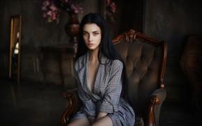 Picture look, girl, portrait, chair, brunette, Alla Berger, Dmitry Arhar