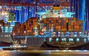 Wallpaper Port, Night, The ship, A container ship, Cranes, Port, Tug, Vessel, Hapag-Lloyd, Container Ship, Tug, ...