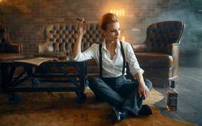 Picture girl, pose, sofa, bottle, chair, cigar, whiskey, on the floor, table, Max Kuzin, Olga Bit