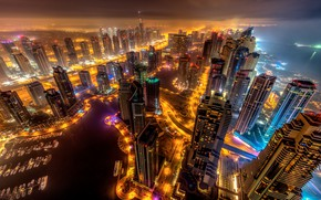 Picture sea, the sky, night, the city, lights, fog, lights, coast, building, home, skyscrapers, boats, lighting, …