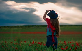 Picture the sky, girl, landscape, flowers, clouds, pose, back, Maki, jeans, hat, space, shawl, Cape, look ...