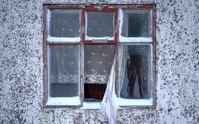 Picture house, wall, window, curtains