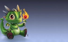 Picture flower, flame, art, dragon, light, children's, rosette, Маленький дракончик, Andy Kilpatrick, Lil Baby Dragon, Энди …