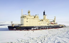 """Picture Water, Ice, Icebreaker, The ship, Russia, Technique, Taymyr, Atomflot, Nuclear-powered icebreaker, Rosatom, """"Taimyr"""""""
