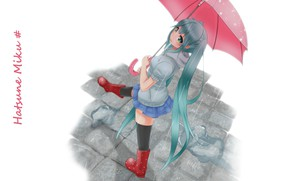 Picture rain, white background, vocaloid, Hatsune Miku, long hair, Vocaloid, walks, red umbrella, Hatsune Miku, rubber …