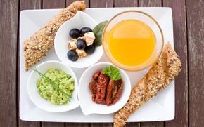 Picture Breakfast, cheese, bread, tomatoes, olives, orange juice, avocado