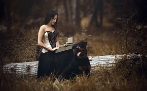 Picture girl, dog, typewriter