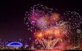 Picture the city, lights, salute, Canada, fireworks, Toronto