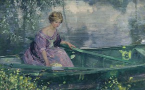 Picture 1912, A young girl in a boat, American painter, American artist, oil on canvas, Karl …