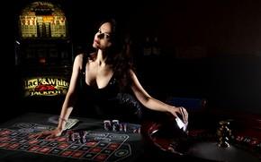 Picture card, girl, casino