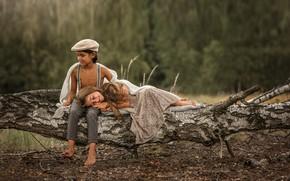 Picture nature, children, tree, feelings, boy, girl, Agi Rygula