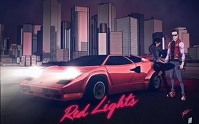 Picture Night, Music, The city, Lamborghini, Background, Neon, Countach, Lamborghini Countach, Cover, 80's, Synth, Retrowave, Synthwave, …