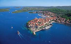Picture sea, Islands, the city, top, Croatia, Adriatica, Croatia, Korcula, Korcula