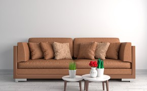 Picture flowers, design, sofa, pillow, table, vases