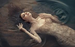 Picture water, girl, pose, the situation, hands, dress, neckline, Julia Tagashova, Valery Shevchenko