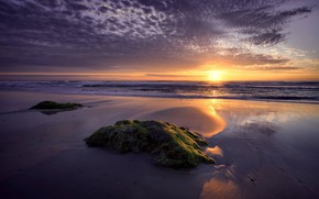 Picture Sunset, The sun, Water, Sand, Clouds, Sea, Horizon, Stone, Tide