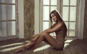 Picture pose, model, door, floor, legs, twilight
