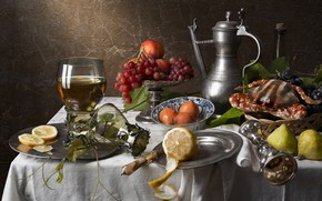 Picture wine, lemon, glass, crab, grapes, still life, nectarine, figs