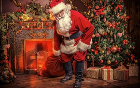 Picture pose, tree, Christmas, gifts, New year, fireplace, Santa Claus, bag