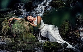 Picture look, girl, pose, waterfall, dress, Ruth Chornolutskyy