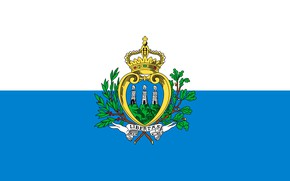 Picture white, blue, flag, white, coat of arms, blue, flag, San Marino, coat of arms, san-marino