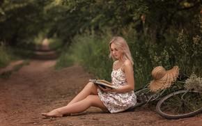 Picture summer, grass, girl, nature, bike, hat, barefoot, dress, blonde, track, book, barefoot, Victoria Dubrovskaya