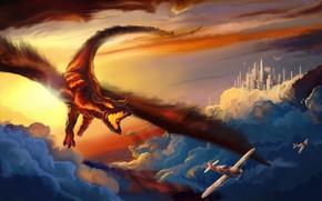 Picture sunset, dragon, aircraft