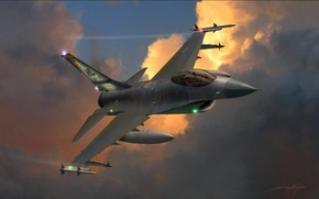 Picture USA, F-16, USAF, F-16 Fighting Falcon, Multi-role fighter, Combat aircraft