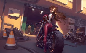 Picture girl, motorcycles, garage, anime, art, costume, helmet, red, Evangelion, character, Evangelion, Asuka Langley, Eva, garage, …