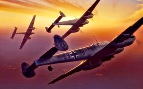 Picture Germany, Messerschmitt, fighter-bomber, artwork, Luftwaffe, Bf.110, Destroyer, WWII, The Third Reich