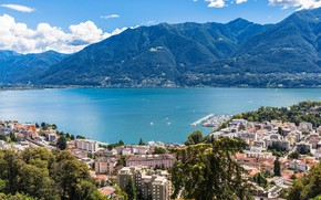 Picture mountains, lake, home, Switzerland, Locarno