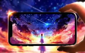 Picture girl, sunset, iPhone, fairy, Wings, Smartphone
