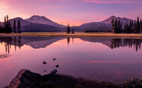 Picture trees, mountains, lake, reflection, Oregon, Oregon, The cascade mountains, Cascade Range, Sparks Lake, Lake Sparks